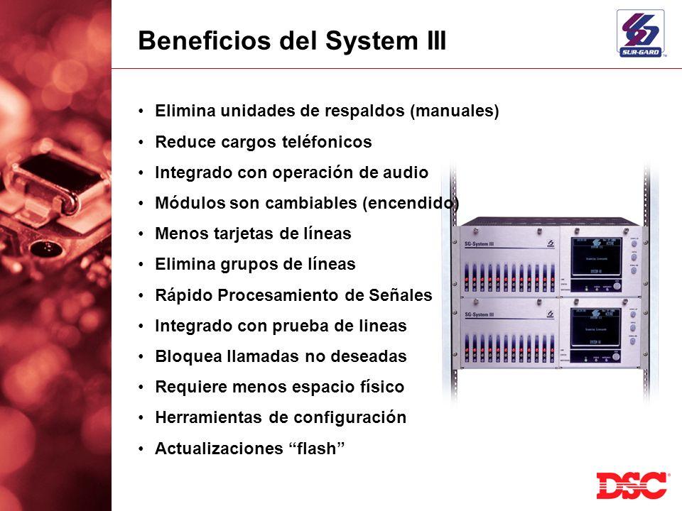 Beneficios del System III Elimina unidades de respaldos (manuales) Reduce cargos teléfonicos Integrado con operación de audio Módulos son cambiables (
