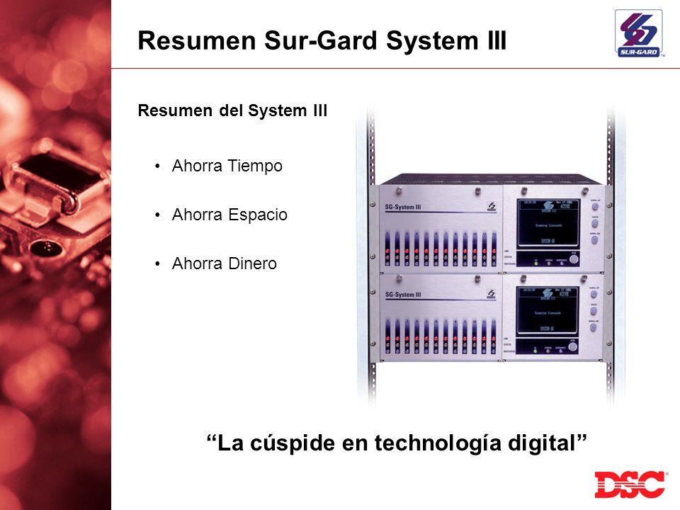 Resumen del System III Ahorra Tiempo Ahorra Espacio Ahorra Dinero La cúspide en technología digital Resumen Sur-Gard System III