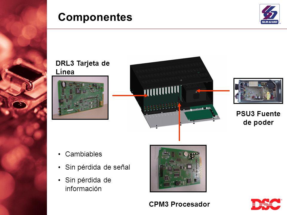 DRL3 Tarjeta de Línea CPM3 Procesador PSU3 Fuente de poder Componentes Cambiables Sin pérdida de señal Sin pérdida de información