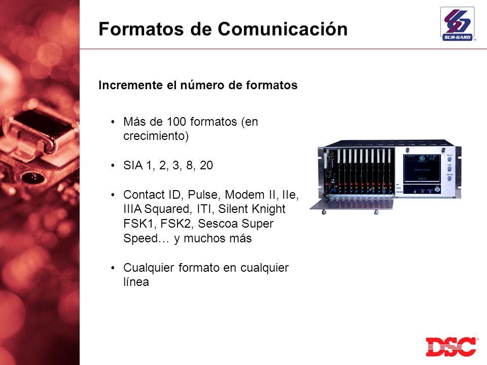 Formatos de Comunicación Incremente el número de formatos Más de 100 formatos (en crecimiento) SIA 1, 2, 3, 8, 20 Contact ID, Pulse, Modem II, IIe, II