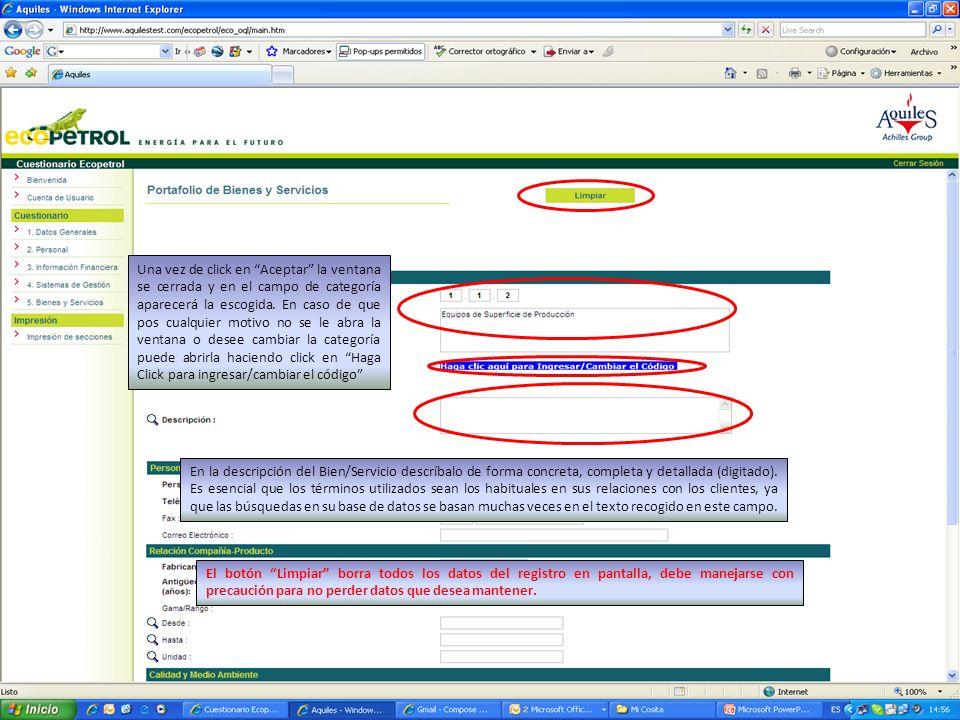 Una vez de click en Aceptar la ventana se cerrada y en el campo de categoría aparecerá la escogida.