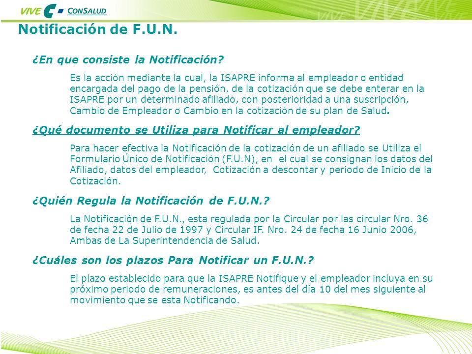 Notificación de F.U.N. ¿En que consiste la Notificación? Es la acción mediante la cual, la ISAPRE informa al empleador o entidad encargada del pago de