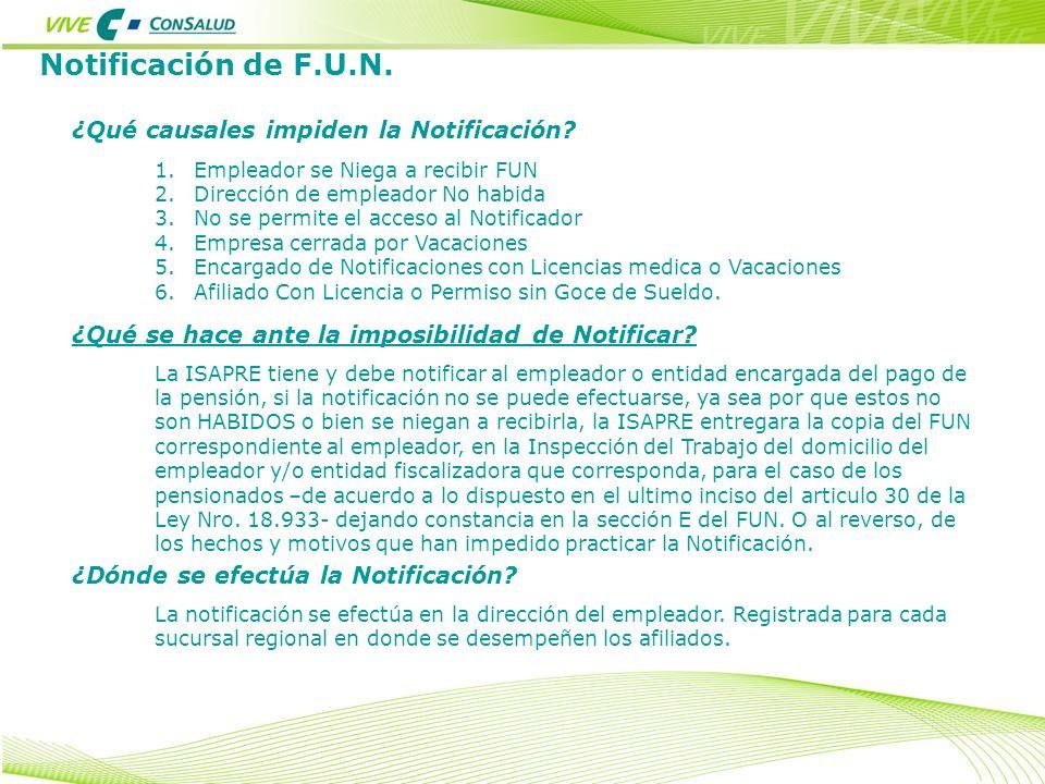 Notificación de F.U.N. ¿Qué se hace ante la imposibilidad de Notificar? La ISAPRE tiene y debe notificar al empleador o entidad encargada del pago de