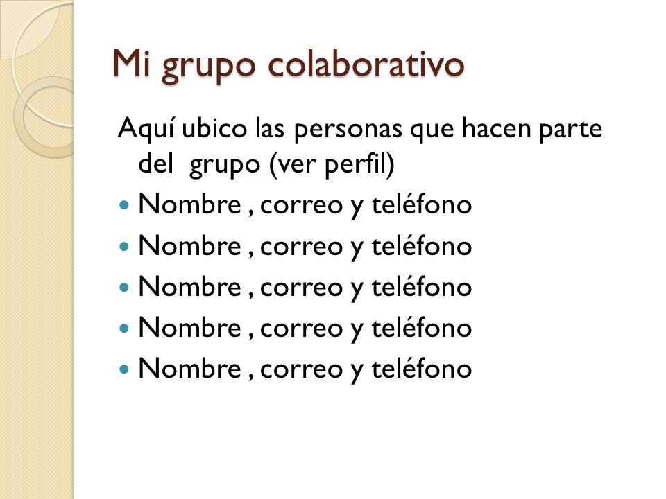 Mi grupo colaborativo Aquí ubico las personas que hacen parte del grupo (ver perfil) Nombre, correo y teléfono