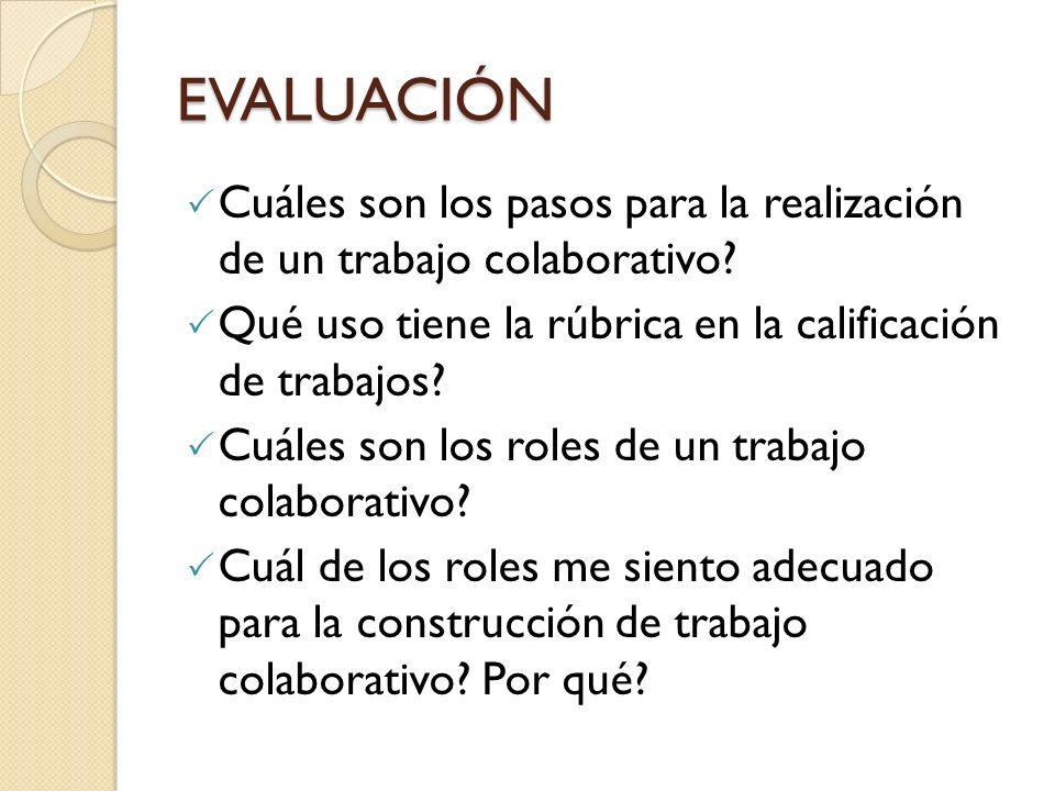 EVALUACIÓN Cuáles son los pasos para la realización de un trabajo colaborativo? Qué uso tiene la rúbrica en la calificación de trabajos? Cuáles son lo