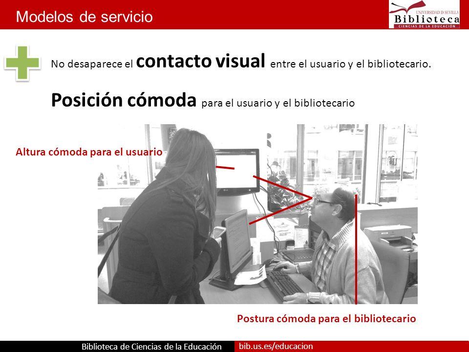 Biblioteca de Ciencias de la Educación bib.us.es/educacion Altura cómoda para el usuario Postura cómoda para el bibliotecario No desaparece el contacto visual entre el usuario y el bibliotecario.
