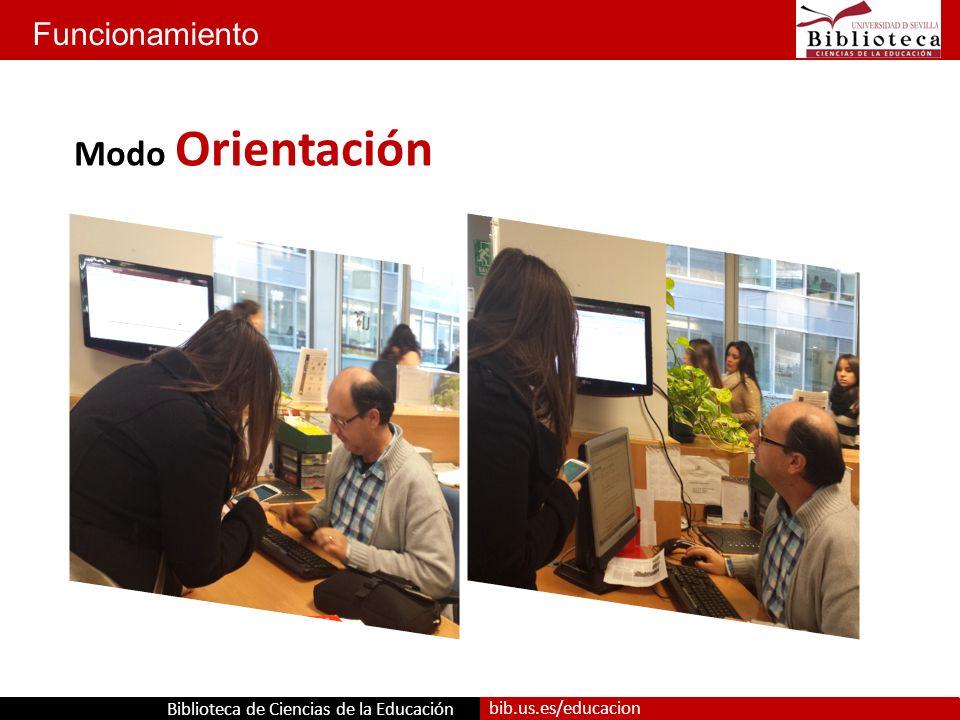 Biblioteca de Ciencias de la Educación bib.us.es/educacion Funcionamiento Modo Orientación