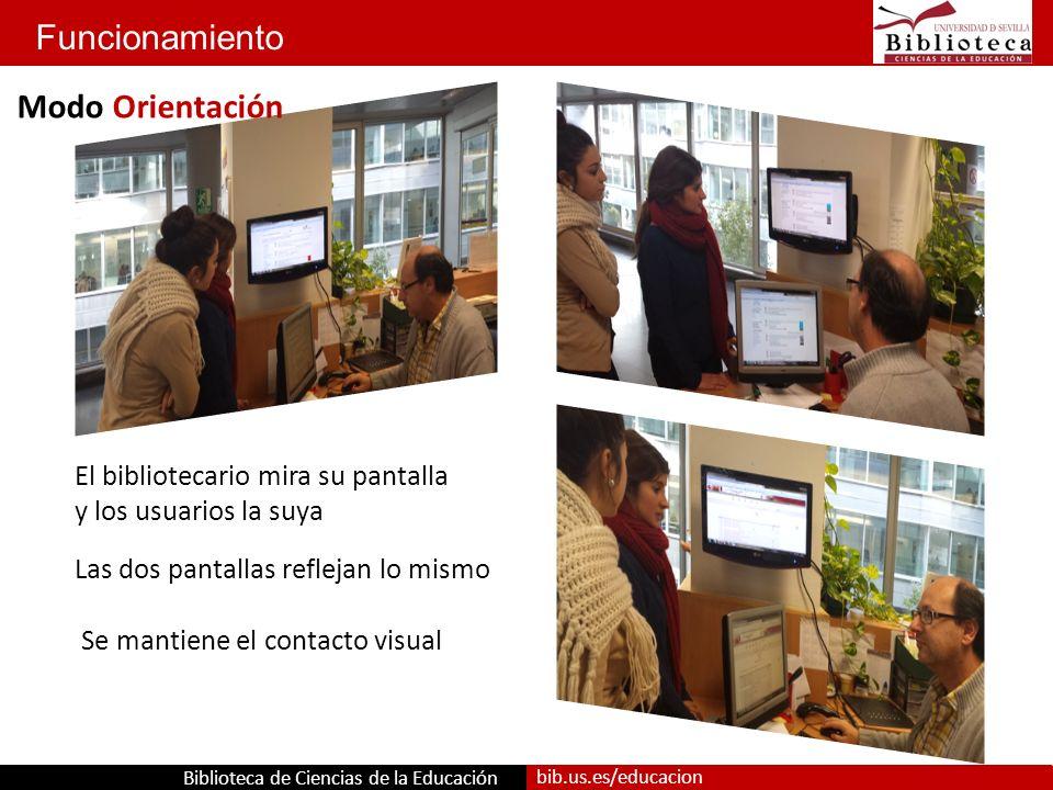 Biblioteca de Ciencias de la Educación bib.us.es/educacion Funcionamiento Se mantiene el contacto visual Las dos pantallas reflejan lo mismo El bibliotecario mira su pantalla y los usuarios la suya Modo Orientación