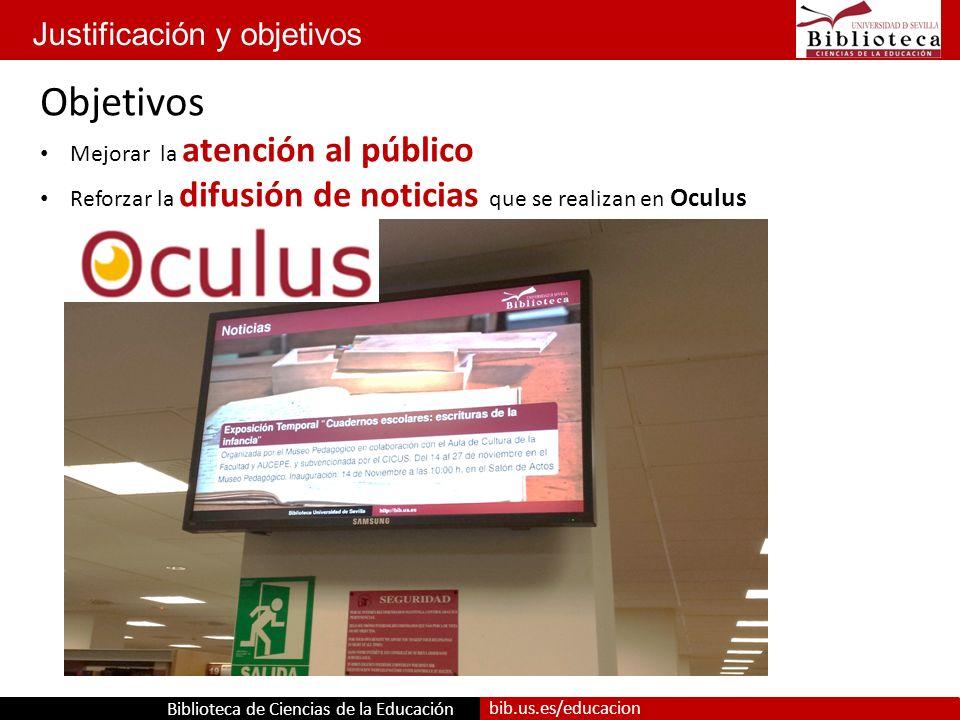 Biblioteca de Ciencias de la Educación bib.us.es/educacion Justificación y objetivos Objetivos Mejorar la atención al público Reforzar la difusión de noticias que se realizan en Oculus