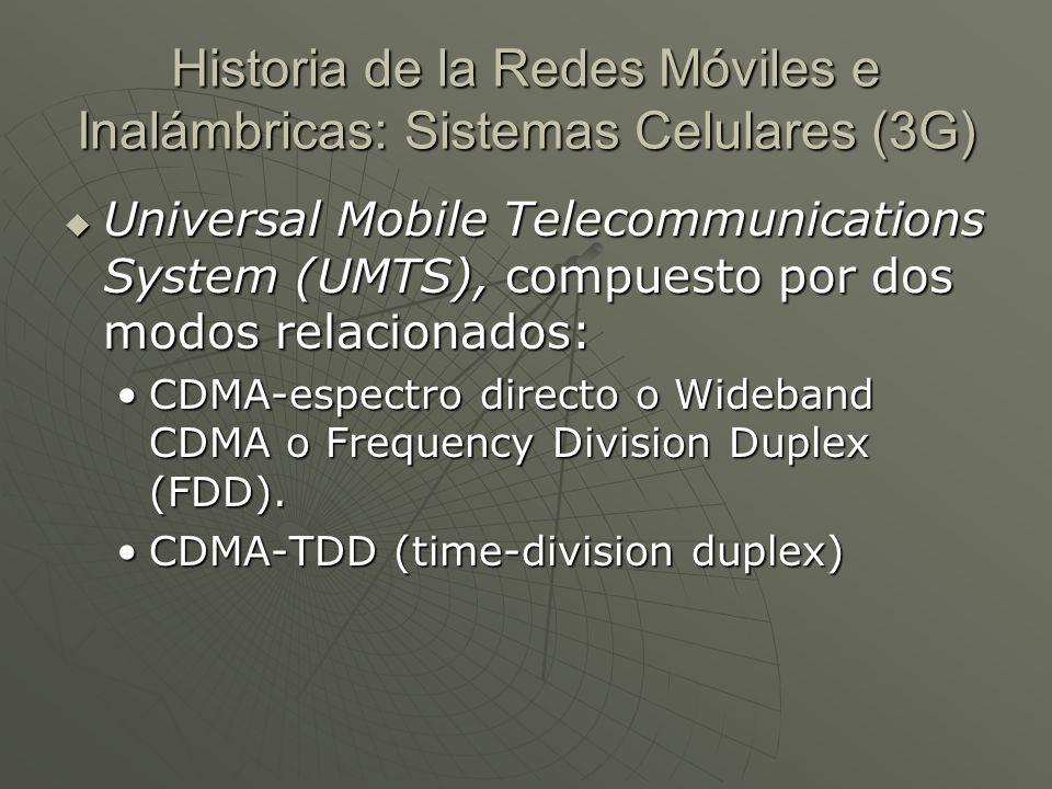 Universal Mobile Telecommunications System (UMTS), compuesto por dos modos relacionados: Universal Mobile Telecommunications System (UMTS), compuesto por dos modos relacionados: CDMA-espectro directo o Wideband CDMA o Frequency Division Duplex (FDD).CDMA-espectro directo o Wideband CDMA o Frequency Division Duplex (FDD).