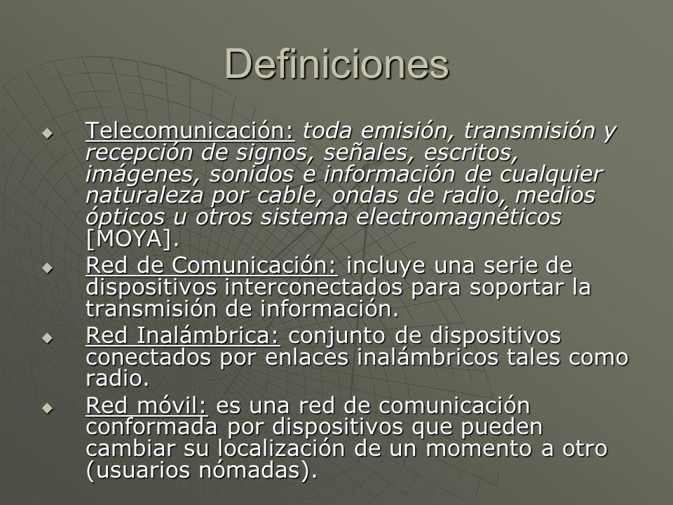 Definiciones Telecomunicación: toda emisión, transmisión y recepción de signos, señales, escritos, imágenes, sonidos e información de cualquier naturaleza por cable, ondas de radio, medios ópticos u otros sistema electromagnéticos [MOYA].