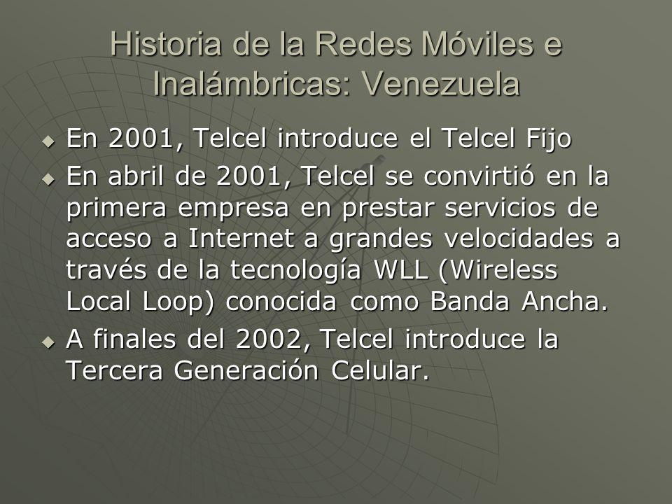 Historia de la Redes Móviles e Inalámbricas: Venezuela En 2001, Telcel introduce el Telcel Fijo En 2001, Telcel introduce el Telcel Fijo En abril de 2