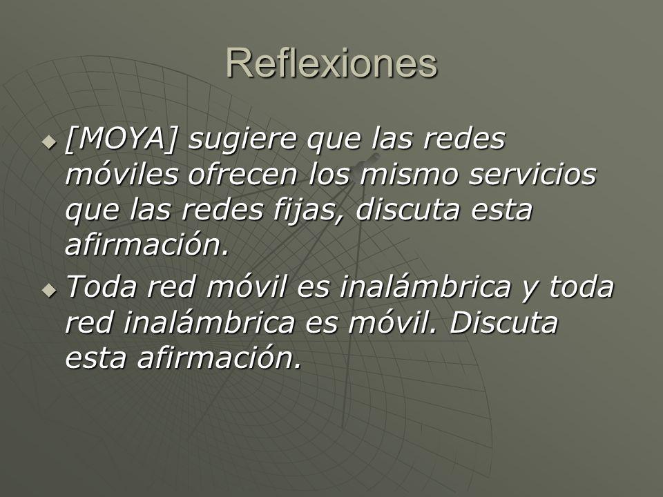 Reflexiones [MOYA] sugiere que las redes móviles ofrecen los mismo servicios que las redes fijas, discuta esta afirmación. [MOYA] sugiere que las rede