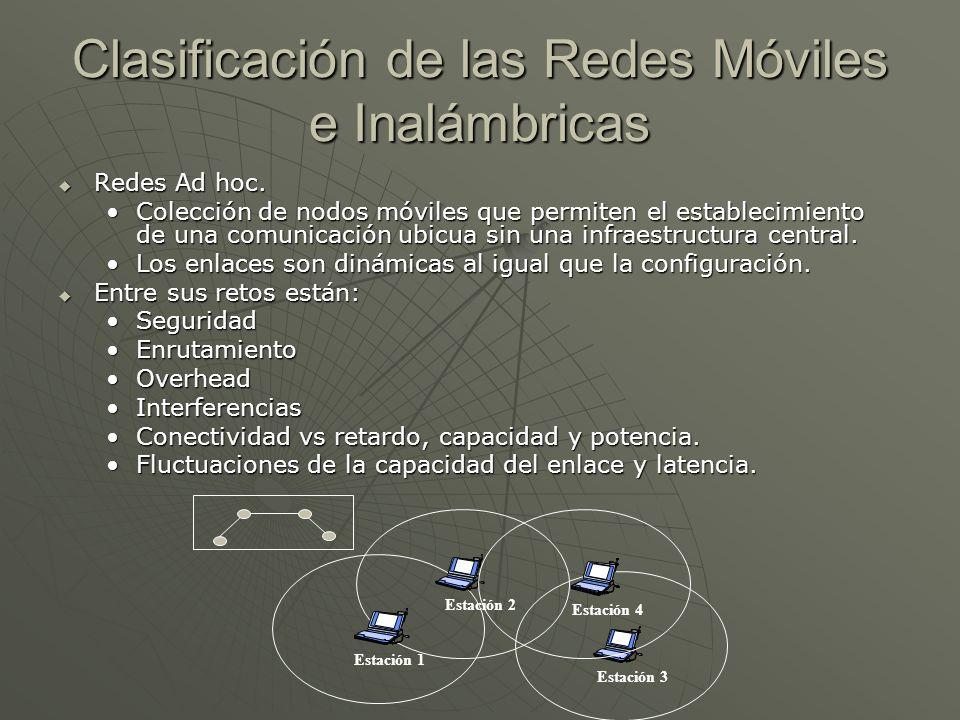 Clasificación de las Redes Móviles e Inalámbricas Redes Ad hoc. Redes Ad hoc. Colección de nodos móviles que permiten el establecimiento de una comuni