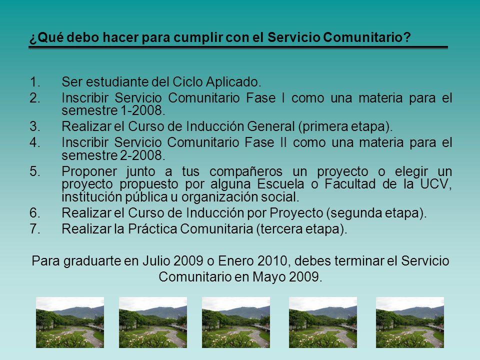 ¿Qué debo hacer para cumplir con el Servicio Comunitario? 1.Ser estudiante del Ciclo Aplicado. 2.Inscribir Servicio Comunitario Fase I como una materi