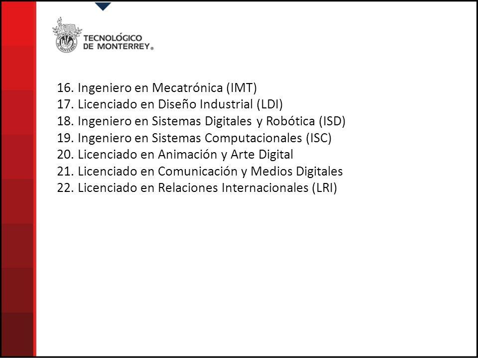 16. Ingeniero en Mecatrónica (IMT) 17. Licenciado en Diseño Industrial (LDI) 18. Ingeniero en Sistemas Digitales y Robótica (ISD) 19. Ingeniero en Sis