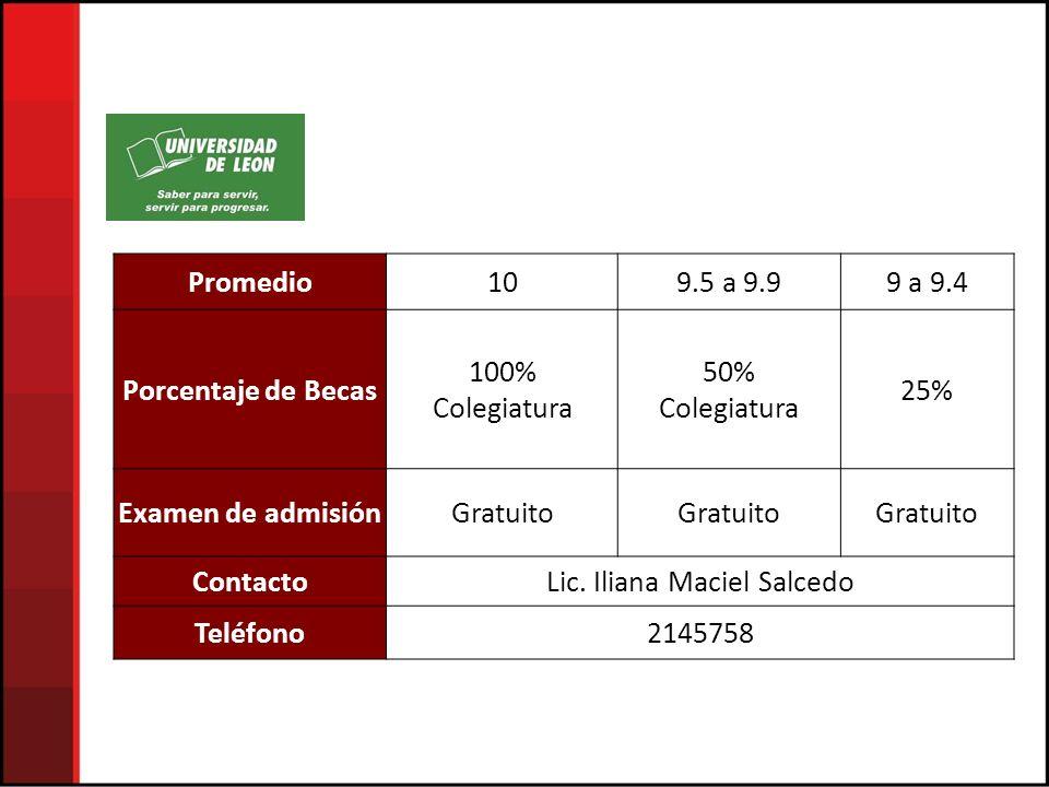 Promedio109.5 a 9.99 a 9.4 Porcentaje de Becas 100% Colegiatura 50% Colegiatura 25% Examen de admisiónGratuito ContactoLic.