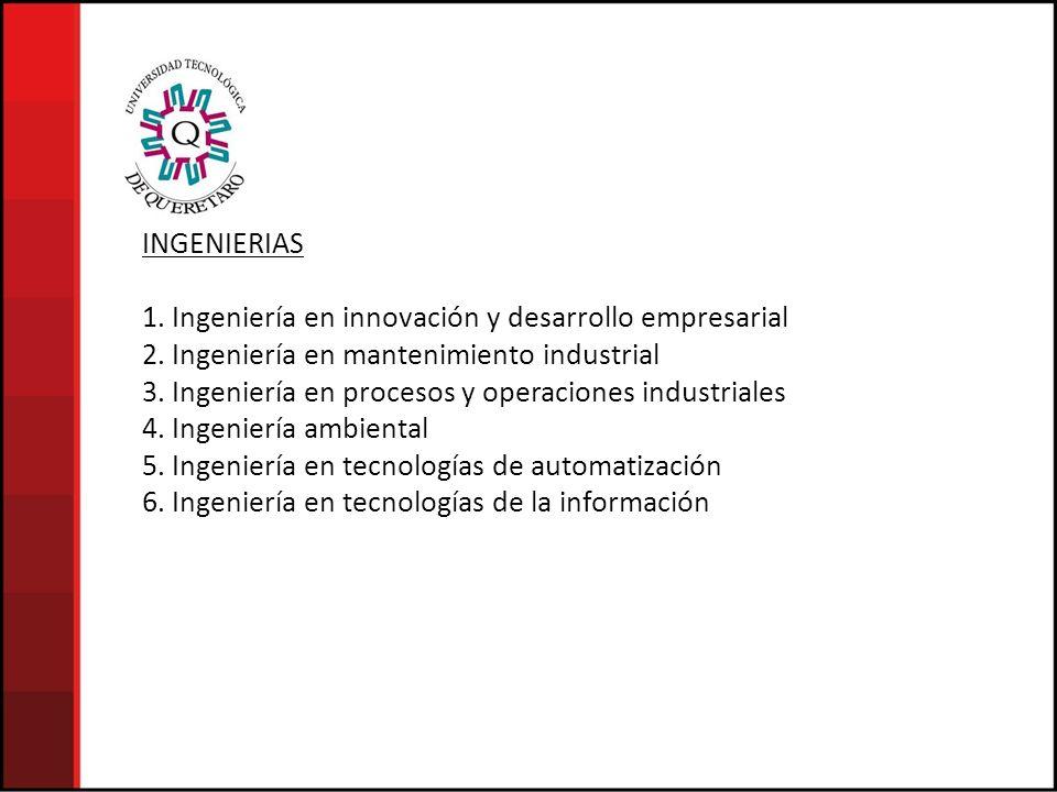 INGENIERIAS 1. Ingeniería en innovación y desarrollo empresarial 2. Ingeniería en mantenimiento industrial 3. Ingeniería en procesos y operaciones ind