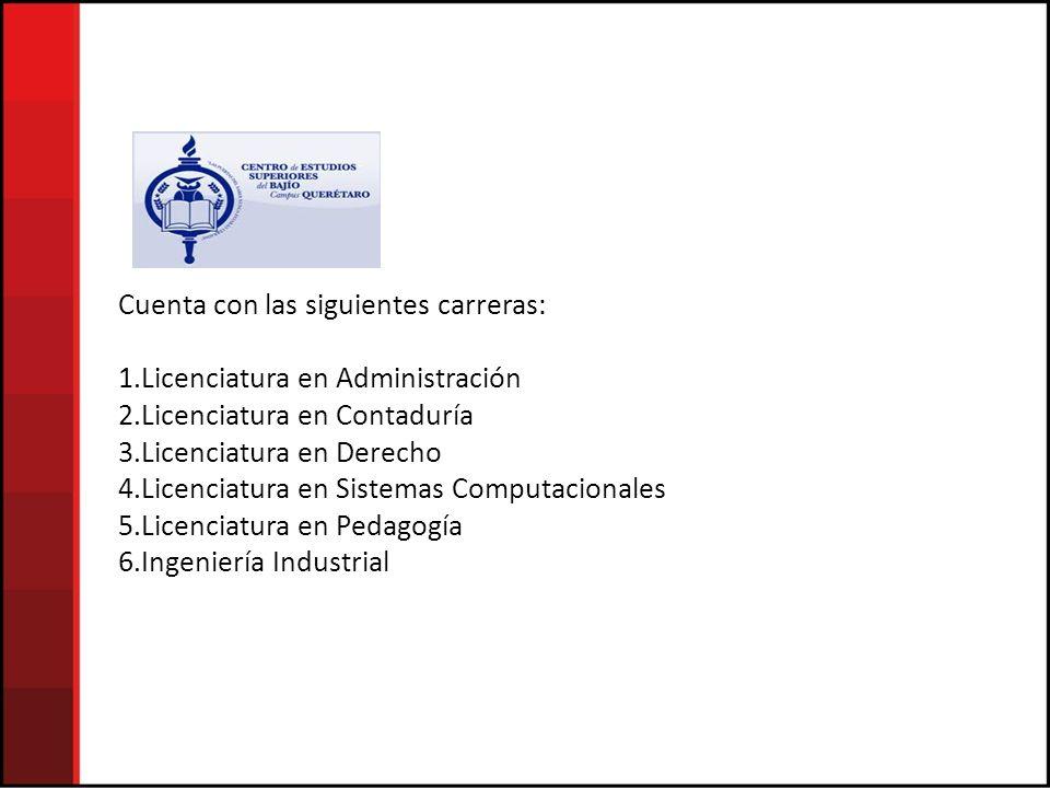 Cuenta con las siguientes carreras: 1.Licenciatura en Administración 2.Licenciatura en Contaduría 3.Licenciatura en Derecho 4.Licenciatura en Sistemas