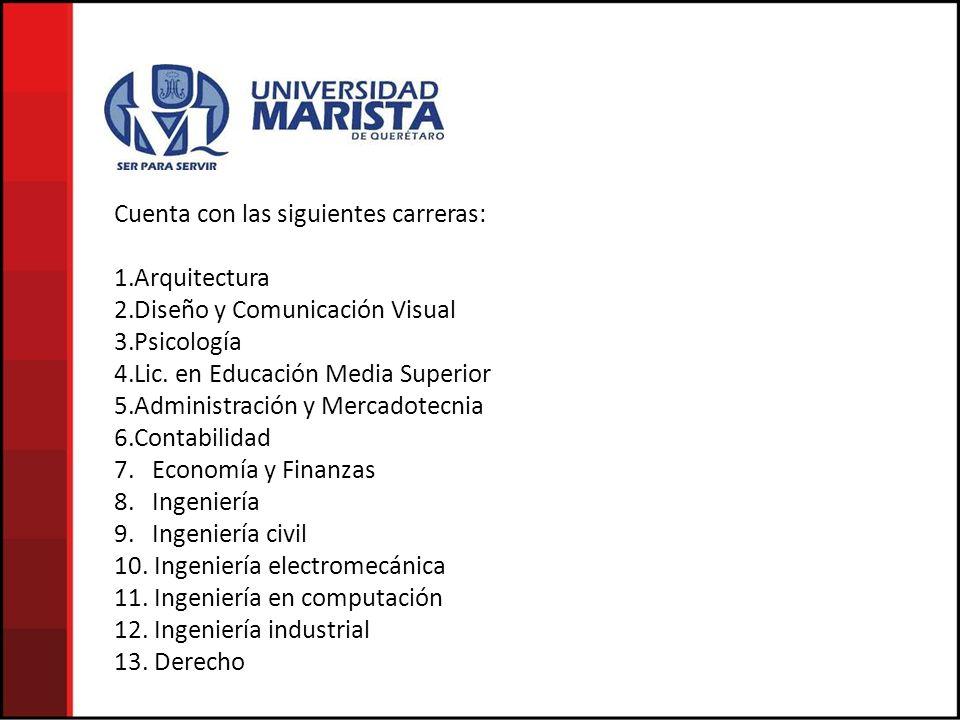 Cuenta con las siguientes carreras: 1.Arquitectura 2.Diseño y Comunicación Visual 3.Psicología 4.Lic.