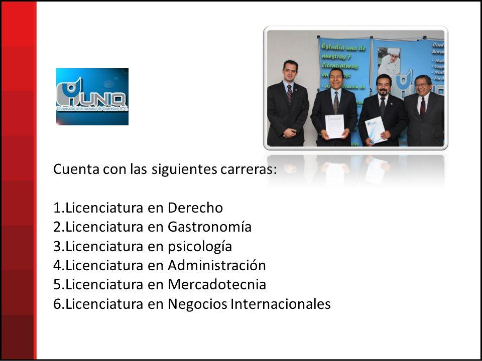 Cuenta con las siguientes carreras: 1.Licenciatura en Derecho 2.Licenciatura en Gastronomía 3.Licenciatura en psicología 4.Licenciatura en Administración 5.Licenciatura en Mercadotecnia 6.Licenciatura en Negocios Internacionales