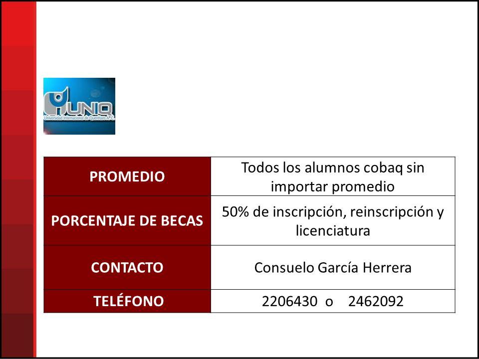 PROMEDIO Todos los alumnos cobaq sin importar promedio PORCENTAJE DE BECAS 50% de inscripción, reinscripción y licenciatura CONTACTOConsuelo García Herrera TELÉFONO2206430 o 2462092