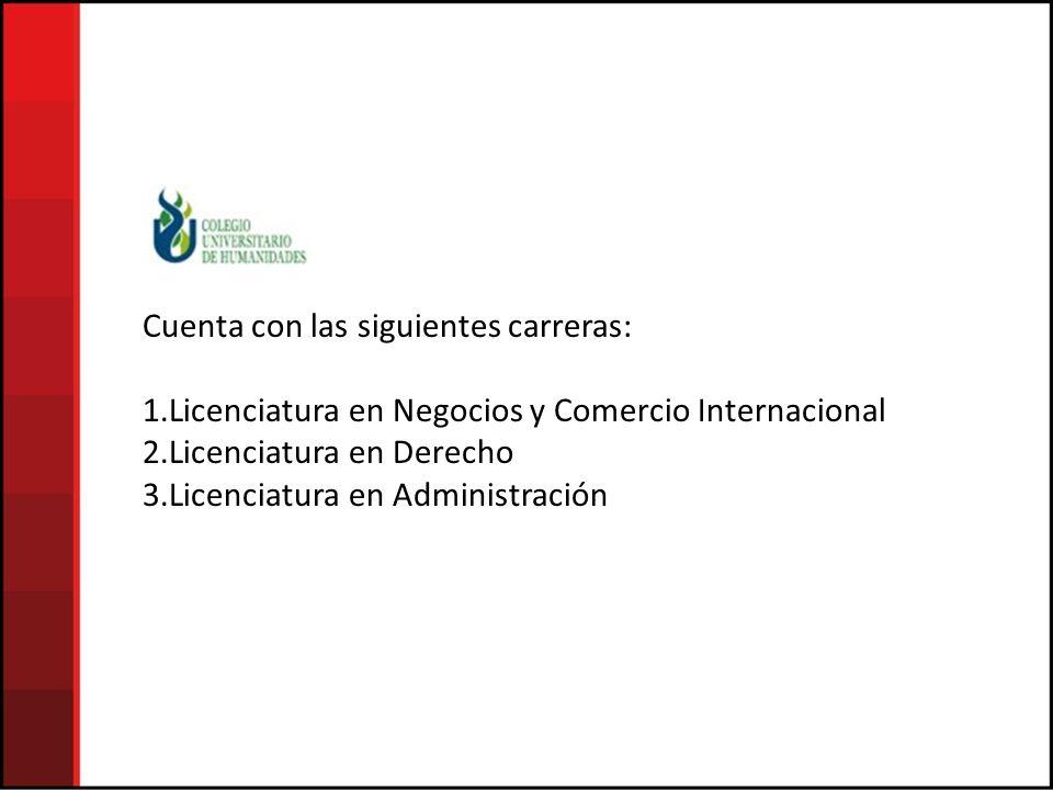 Cuenta con las siguientes carreras: 1.Licenciatura en Negocios y Comercio Internacional 2.Licenciatura en Derecho 3.Licenciatura en Administración