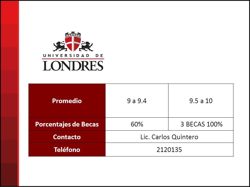 Promedio9 a 9.49.5 a 10 Porcentajes de Becas60% 3 BECAS 100% ContactoLic.