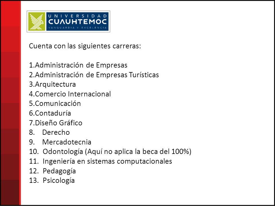 Cuenta con las siguientes carreras: 1.Administración de Empresas 2.Administración de Empresas Turísticas 3.Arquitectura 4.Comercio Internacional 5.Comunicación 6.Contaduría 7.Diseño Gráfico 8.