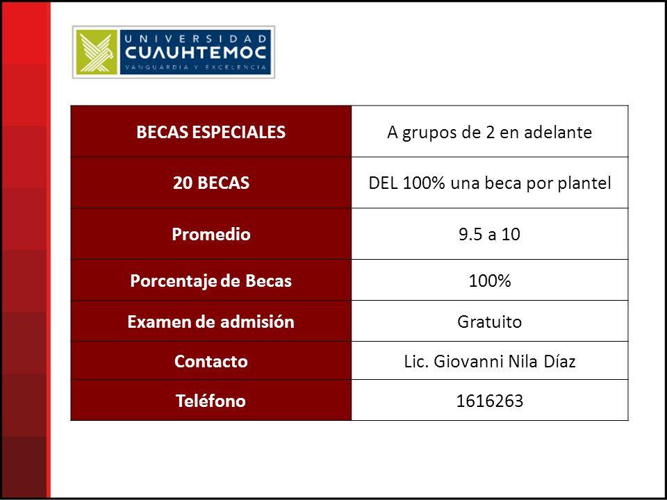 BECAS ESPECIALESA grupos de 2 en adelante 20 BECASDEL 100% una beca por plantel Promedio9.5 a 10 Porcentaje de Becas100% Examen de admisiónGratuito ContactoLic.