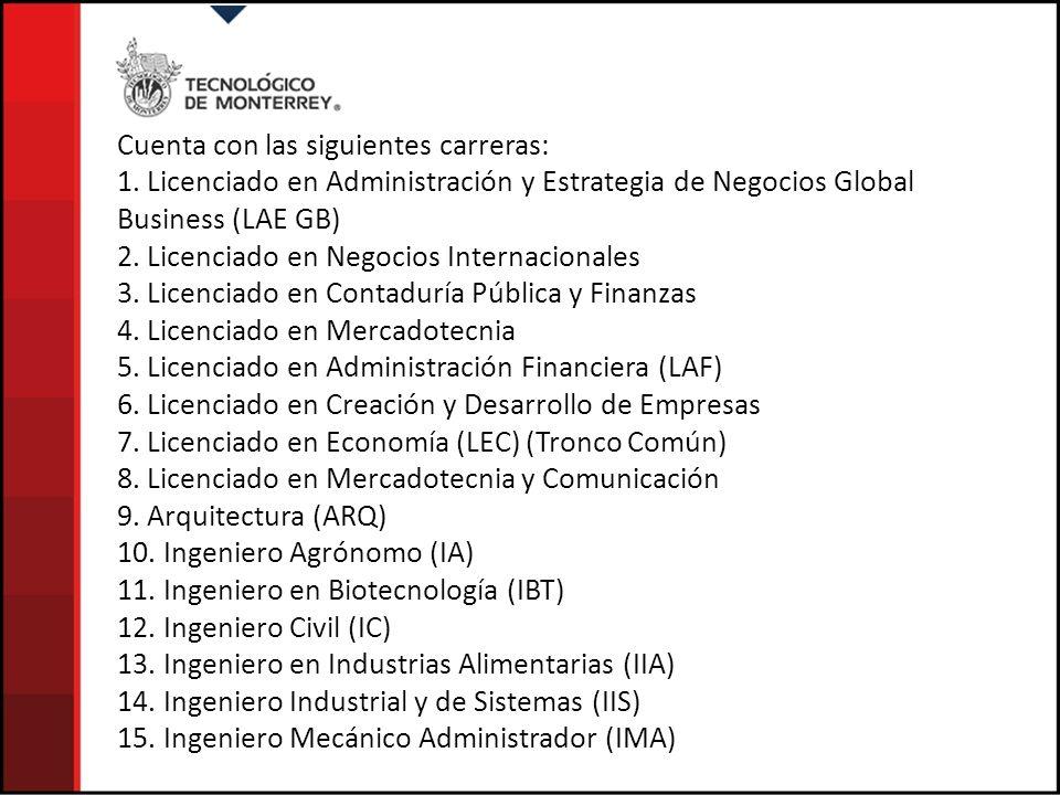 Cuenta con las siguientes carreras: 1. Licenciado en Administración y Estrategia de Negocios Global Business (LAE GB) 2. Licenciado en Negocios Intern