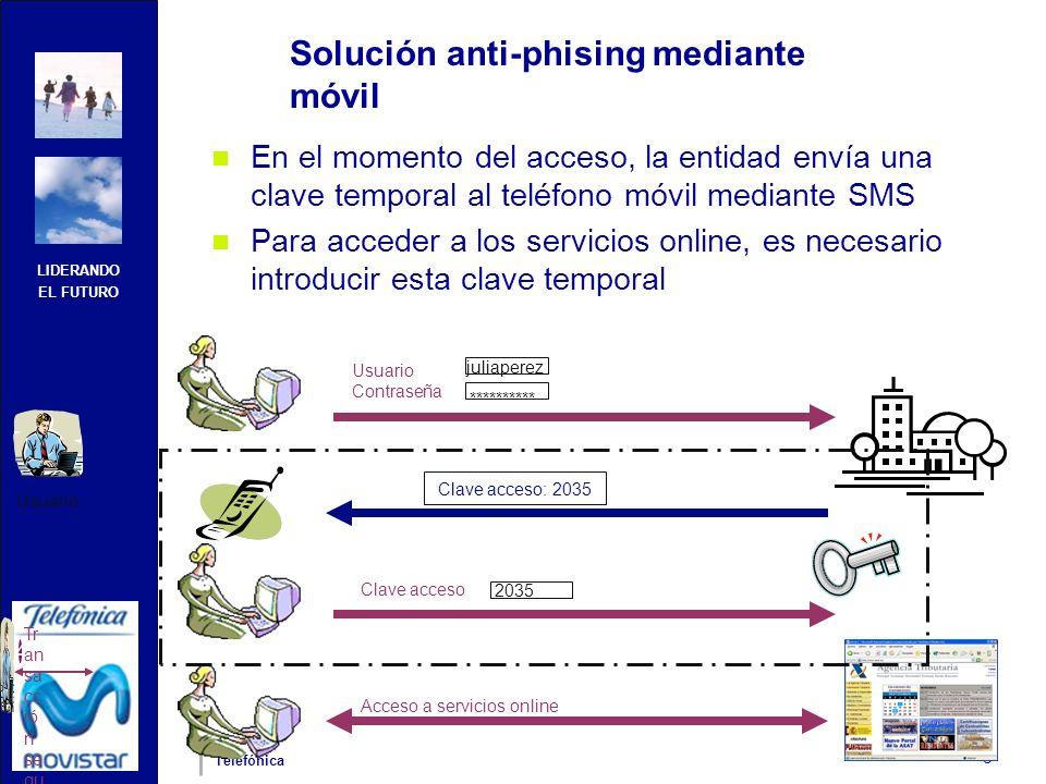 LIDERANDO EL FUTURO Telefónica 3 Solución anti-phising mediante móvil En el momento del acceso, la entidad envía una clave temporal al teléfono móvil