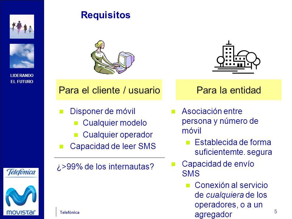LIDERANDO EL FUTURO Telefónica 5 Requisitos Disponer de móvil Cualquier modelo Cualquier operador Capacidad de leer SMS Asociación entre persona y núm