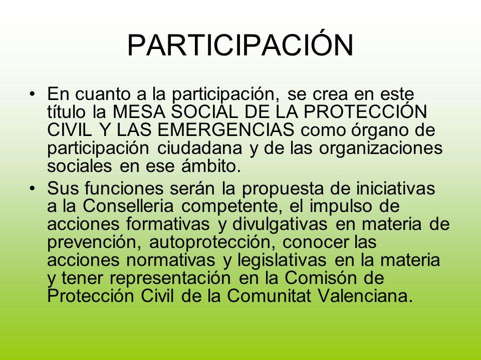 PARTICIPACIÓN En cuanto a la participación, se crea en este título la MESA SOCIAL DE LA PROTECCIÓN CIVIL Y LAS EMERGENCIAS como órgano de participación ciudadana y de las organizaciones sociales en ese ámbito.