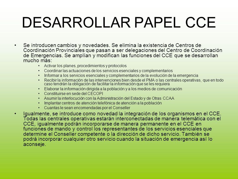 DESARROLLAR PAPEL CCE Se introducen cambios y novedades.