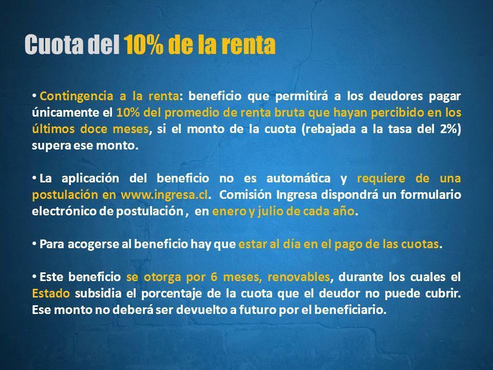 Cuota del 10% de la renta Contingencia a la renta: beneficio que permitirá a los deudores pagar únicamente el 10% del promedio de renta bruta que hayan percibido en los últimos doce meses, si el monto de la cuota (rebajada a la tasa del 2%) supera ese monto.