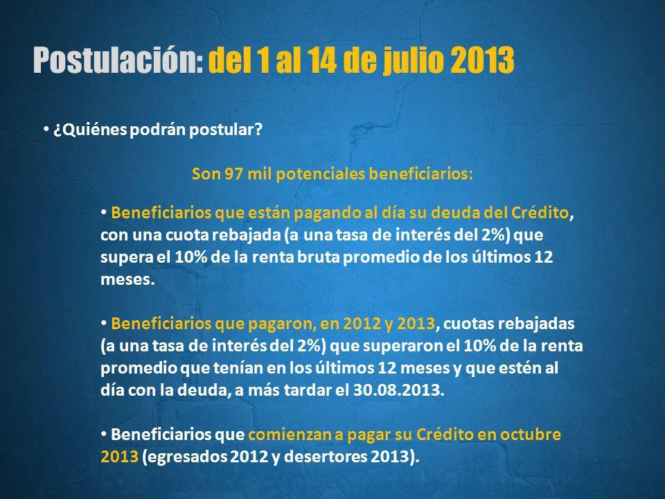 Postulación: del 1 al 14 de julio 2013 ¿Quiénes podrán postular.