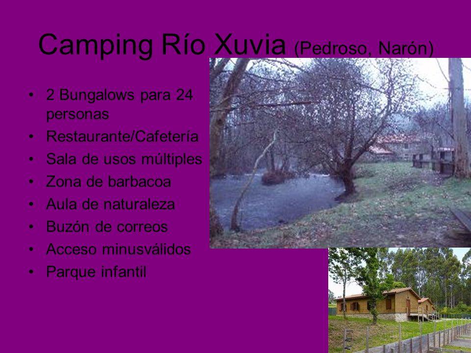 Camping Río Xuvia (Pedroso, Narón) 2 Bungalows para 24 personas Restaurante/Cafetería Sala de usos múltiples Zona de barbacoa Aula de naturaleza Buzón de correos Acceso minusválidos Parque infantil