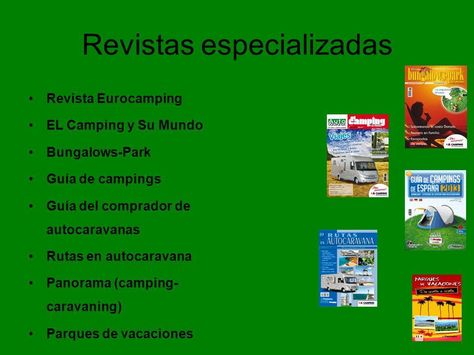Revistas especializadas Revista Eurocamping EL Camping y Su Mundo Bungalows-Park Guía de campings Guía del comprador de autocaravanas Rutas en autocaravana Panorama (camping- caravaning) Parques de vacaciones