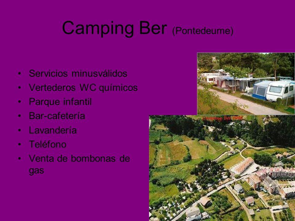 Camping Ber (Pontedeume) Servicios minusválidos Vertederos WC químicos Parque infantil Bar-cafetería Lavandería Teléfono Venta de bombonas de gas
