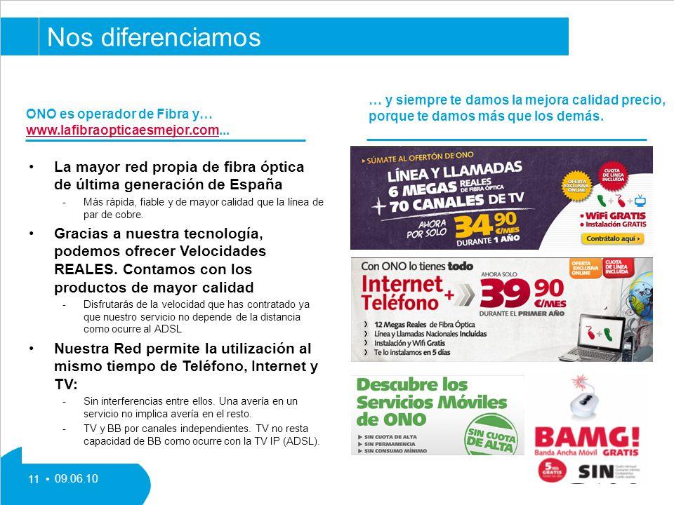 09.06.10 11 La mayor red propia de fibra óptica de última generación de España Más rápida, fiable y de mayor calidad que la línea de par de cobre.