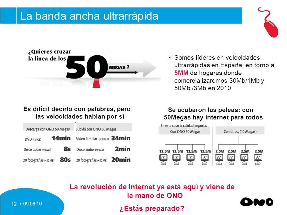 09.06.10 12 Somos líderes en velocidades ultrarrápidas en España: en torno a 5MM de hogares donde comercializaremos 30Mb/1Mb y 50Mb /3Mb en 2010 Es difícil decirlo con palabras, pero las velocidades hablan por sí solas….