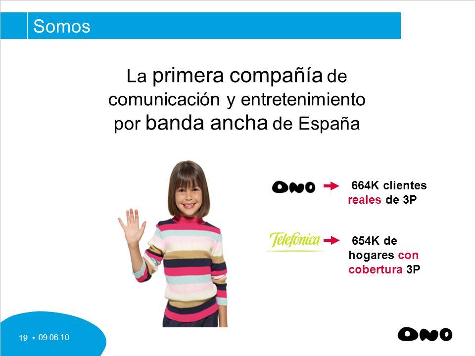 09.06.10 19 La primera compañía de comunicación y entretenimiento por banda ancha de España Somos 664K clientes reales de 3P 654K de hogares con cobertura 3P