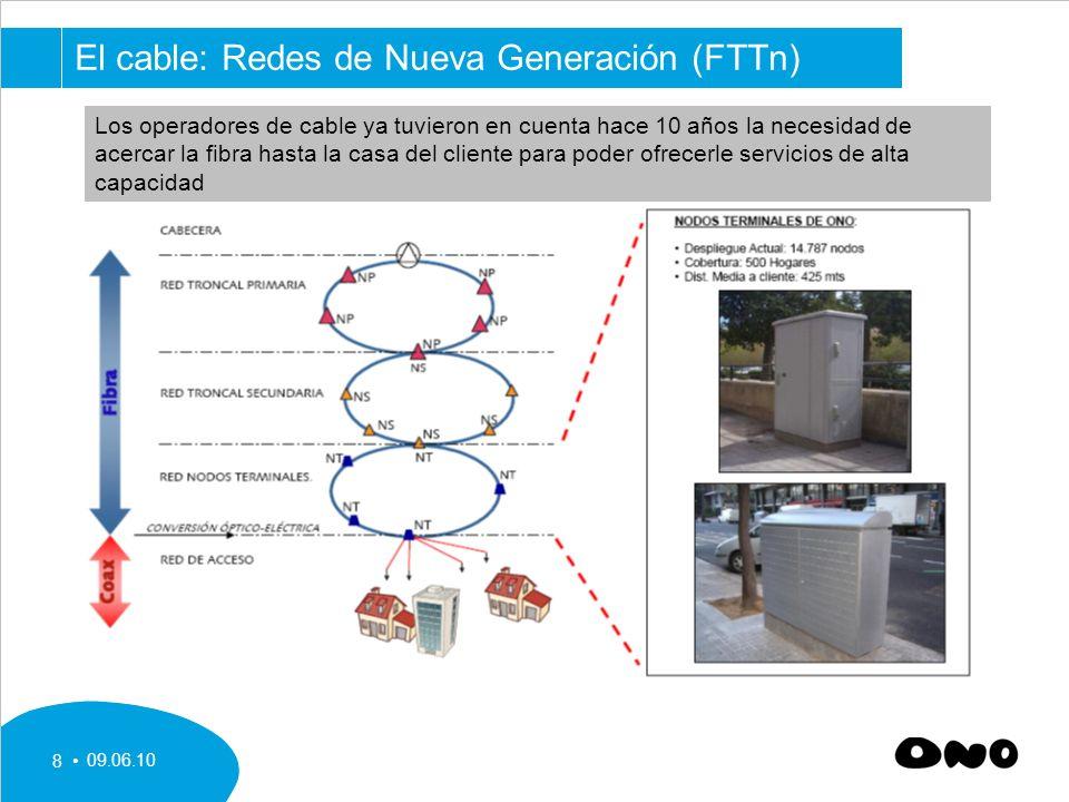 09.06.10 8 El cable: Redes de Nueva Generación (FTTn) Los operadores de cable ya tuvieron en cuenta hace 10 años la necesidad de acercar la fibra hasta la casa del cliente para poder ofrecerle servicios de alta capacidad