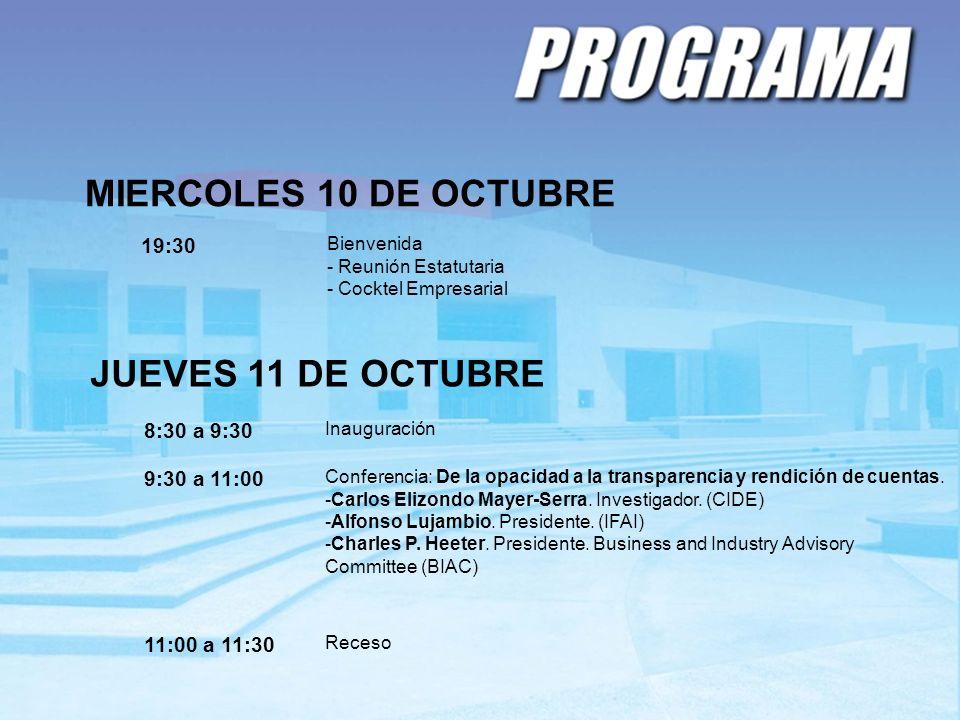 MIERCOLES 10 DE OCTUBRE 19:30 Bienvenida - Reunión Estatutaria - Cocktel Empresarial JUEVES 11 DE OCTUBRE 8:30 a 9:30 Inauguración 9:30 a 11:00 Confer