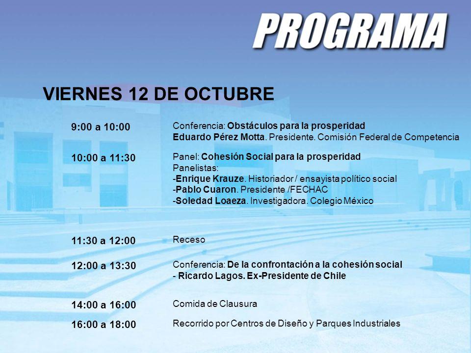 VIERNES 12 DE OCTUBRE 9:00 a 10:00 Conferencia: Obstáculos para la prosperidad Eduardo Pérez Motta. Presidente. Comisión Federal de Competencia 10:00