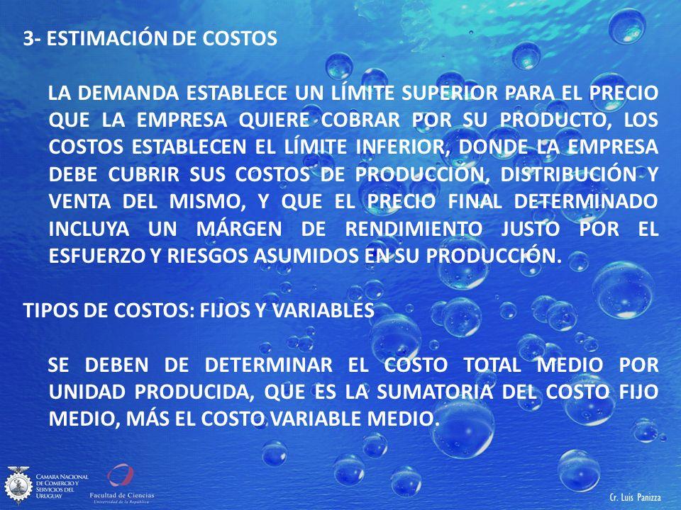 3- ESTIMACIÓN DE COSTOS LA DEMANDA ESTABLECE UN LÍMITE SUPERIOR PARA EL PRECIO QUE LA EMPRESA QUIERE COBRAR POR SU PRODUCTO, LOS COSTOS ESTABLECEN EL LÍMITE INFERIOR, DONDE LA EMPRESA DEBE CUBRIR SUS COSTOS DE PRODUCCIÓN, DISTRIBUCIÓN Y VENTA DEL MISMO, Y QUE EL PRECIO FINAL DETERMINADO INCLUYA UN MÁRGEN DE RENDIMIENTO JUSTO POR EL ESFUERZO Y RIESGOS ASUMIDOS EN SU PRODUCCIÓN.