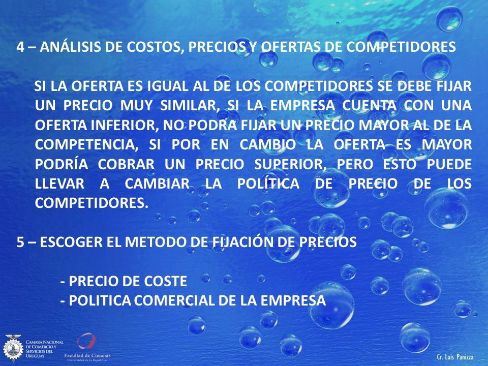 4 – ANÁLISIS DE COSTOS, PRECIOS Y OFERTAS DE COMPETIDORES SI LA OFERTA ES IGUAL AL DE LOS COMPETIDORES SE DEBE FIJAR UN PRECIO MUY SIMILAR, SI LA EMPRESA CUENTA CON UNA OFERTA INFERIOR, NO PODRA FIJAR UN PRECIO MAYOR AL DE LA COMPETENCIA, SI POR EN CAMBIO LA OFERTA ES MAYOR PODRÍA COBRAR UN PRECIO SUPERIOR, PERO ESTO PUEDE LLEVAR A CAMBIAR LA POLÍTICA DE PRECIO DE LOS COMPETIDORES.