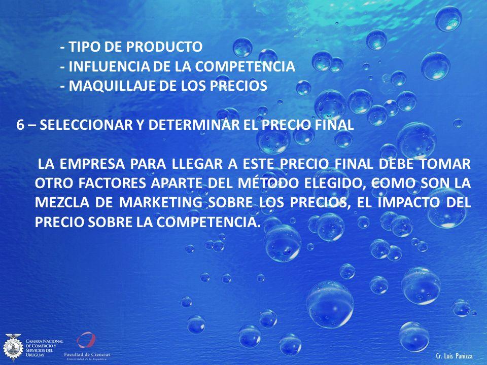 - TIPO DE PRODUCTO - INFLUENCIA DE LA COMPETENCIA - MAQUILLAJE DE LOS PRECIOS 6 – SELECCIONAR Y DETERMINAR EL PRECIO FINAL LA EMPRESA PARA LLEGAR A ESTE PRECIO FINAL DEBE TOMAR OTRO FACTORES APARTE DEL MÉTODO ELEGIDO, COMO SON LA MEZCLA DE MARKETING SOBRE LOS PRECIOS, EL IMPACTO DEL PRECIO SOBRE LA COMPETENCIA.