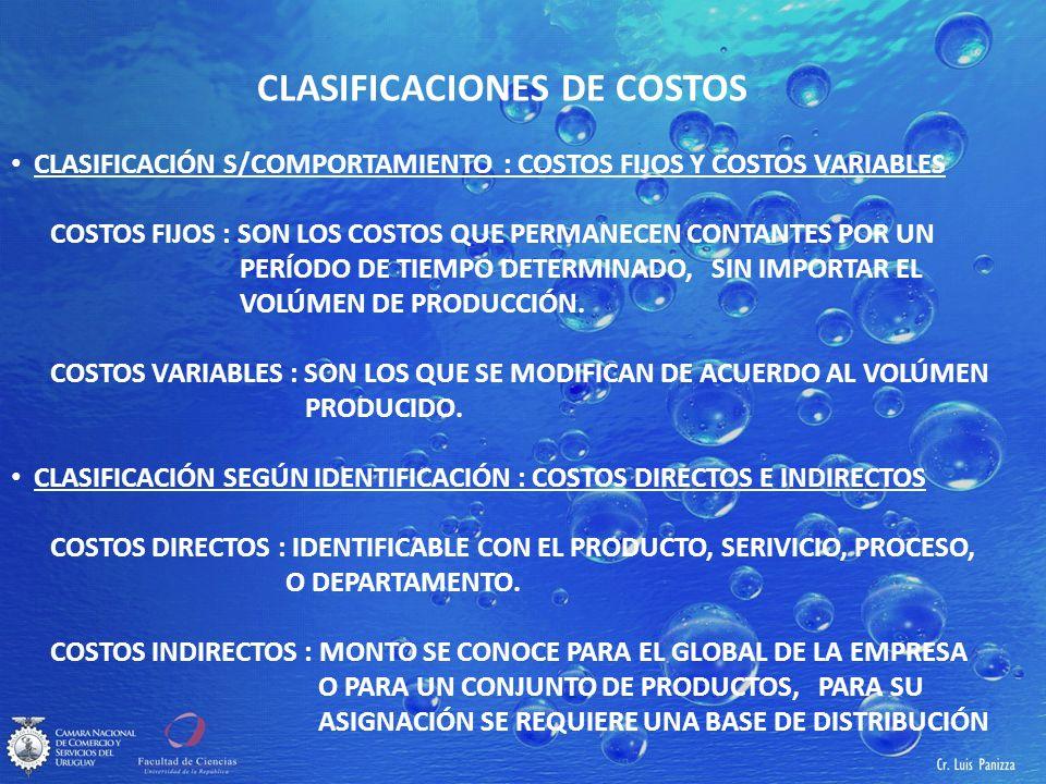 CLASIFICACIONES DE COSTOS CLASIFICACIÓN S/COMPORTAMIENTO : COSTOS FIJOS Y COSTOS VARIABLES COSTOS FIJOS : SON LOS COSTOS QUE PERMANECEN CONTANTES POR UN PERÍODO DE TIEMPO DETERMINADO, SIN IMPORTAR EL VOLÚMEN DE PRODUCCIÓN.